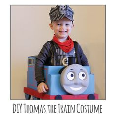 Super adorable DIY Thomas the Train Halloween Costume made from a cardboard box! from Little Red Window. My youngest grandson LOVES and breathes Thomas the Train. He would LOVE this costume, for sure! Halloween Kostüm, Holidays Halloween, Halloween Costumes For Kids, Thomas The Train Costume, Thomas Costume, Train Party, Cute Costumes, Costume Ideas, Halloween Disfraces