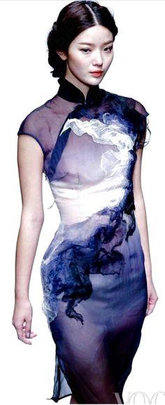 Modern qipao in sheer silk