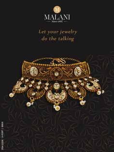 Make a style statement with stunning Antic Jewellery, Jewelry Ads, Jewelry Design Earrings, Gold Jewellery Design, Jewelry Branding, Gold Jewelry, Indian Jewelry Sets, Indian Wedding Jewelry, Bridal Necklace Set