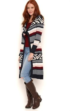 Long Sleeve Navajo Aztec Stripe Duster Sweater