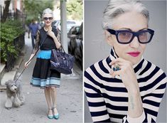 I am inspired, by this over 50 year old, Style Icon, who flaunts her Grey (Gray) hair, with her own effortless style ~ Linda Rodin   Rue