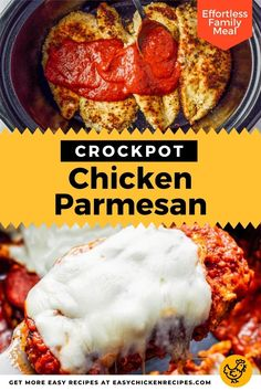 Everyone's favorite chicken dinner just got super easy to make in the Crockpot! Breaded chicken breast is smothered in marinara sauce and topped with mozzarella for a delicious family meal everyone will love! Chicken With Italian Seasoning, Italian Chicken Recipes, Easy Chicken Recipes, Kid Friendly Chicken Recipes, Kid Friendly Meals, Chicken Parmesan Recipes, Breaded Chicken, Marinara Sauce, Easy Weeknight Meals