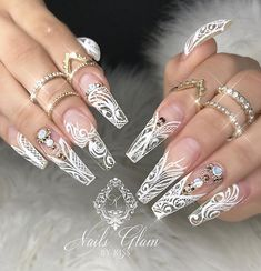 50 Best Acrylic Coffin Nails Design Ideas For Summer Nails Makeup Page 22 of - All For Hair Color Trending Wedding Nails For Bride, Bride Nails, Wedding Nails Design, White Nail Designs, Beautiful Nail Designs, Nail Art Designs, White Coffin Nails, Coffin Nails Long, French Nails