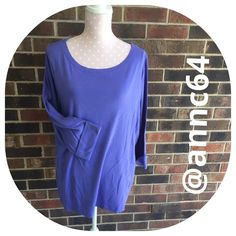 """Quality Tee NWOT Round neck...almost a boat neck. 3/4 sleeves with a 2"""" cuff. 100% cotton. Machine wash cold and tumble dry low. Bust 48"""" length 27"""". All measurements are approximate. Boutique Tops"""