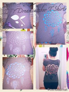 DIY Dreamcatcher cutout t shirt cutting cut out crafting reconstructing repurposing