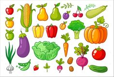 #Vector Set with Vegetables. - #Food #Objects Download here:  https://graphicriver.net/item/vector-set-with-vegetables/20372259?ref=alena994