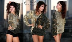 80s Black & Gold Heavily Beaded Sequin Flower Disco Top by VINTAZIAVintage, $42.50
