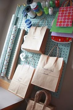 gift wrapping station with peg board Wrapping Paper Organization, Craft Organization, Organizing Tips, Organising, Space Crafts, Home Crafts, Diy Crafts, Ideas Prácticas, Room Ideas