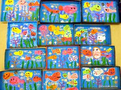 Maestra Caterina: Ricordi delle vacanze Crab Crafts, Fun Diy Crafts, Paper Plate Jellyfish, Rainbow Fish Crafts, Bird Nest Craft, Shark Craft, Light Blue Paints, Paper Fish, Kindergarten Projects