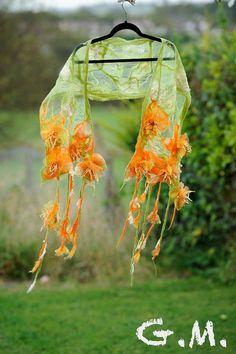 Scarf. Felted Scarf .Nuno Felted Scarf .Handmade wool and organza scarf.Organza Scarf.Flower Scarf.