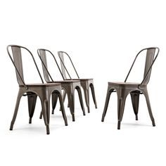 Belleze Bistro Dining Chairs Modern Style Metal Industrial Set of 4 Wood Seat Restaurant Cafe Bar Stool Stackable Bronze Farmhouse Dining Chairs, Modern Dining Chairs, Dining Room Bar, Dining Chair Set, Living Room Chairs, Patio Dining, Sofa Set, Metal Bar Stools, Metal Chairs