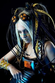 cyber, cyber girl, cyber fashion, cyberpunk, cyber gorh, cyber punk, cybergoth, cyber style, futuristic girl, future fashion, radioactive by FuturisticNews