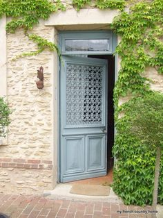 Light Chalky Blue French Country Door. & Electric Lantern instead of gas; Alys Beach #Bevolo ... Pezcame.Com