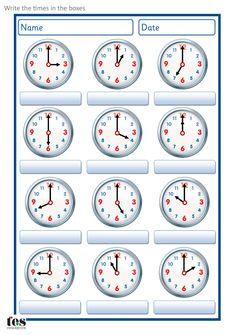 A set of worksheets to use when developing analogue clock skills. Set contains 4 sheets, each with 12 clock faces on. There is a sheet for o'clock, half pa. Clock Worksheets, Kindergarten Math Worksheets, School Worksheets, 1st Grade Worksheets, Teaching Time, Teaching Math, Teaching Resources, Math Clock, O Clock