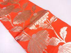 JAPANESE KIMONO / ANTIQUE ODORI OBI(for dance) / WOVEN FLOWER