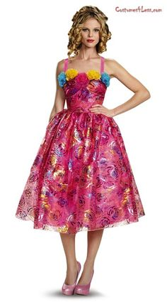 Give a villainous edge this Halloween dressing up as one of the step-sisters of Cinderella in this Disney Cinderella Anastasia Movie Adult Deluxe Costume !The costume inspired from the new live-action Cinderella movie includes a sleeveless bright pink color tea-length dress covered in roses and other black, blue, purple and yellow flowers and a flared skirt. The form fitting bodice features blue, yellow and pink tulle flowers on the neckline. Does not include shoes and wig. Perfect for…