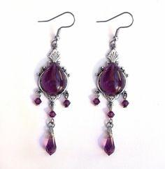 Purple Gothic Earrings  Victorian  Dangle  Swarovski by Aranwen, €37.00