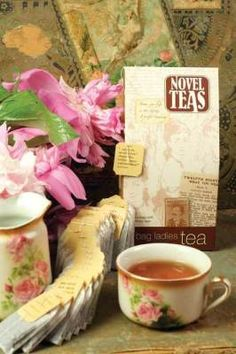 """Novel Teas - Read 'em and Steep"" - tea bags with literary quotes on the tags."