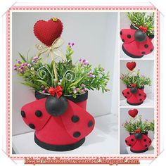 16 totally different Clay Pot Ladybugs. Who would have believed there could be so many ways to make Ladybugs from clay pots. Aluminum Can Crafts, Tin Can Crafts, Crafts For Kids, Diy Crafts, Clay Flower Pots, Flower Pot Crafts, Clay Pot Projects, Clay Pot Crafts, Shell Crafts