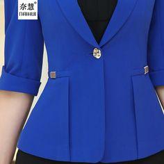 2017 Women's office work Jacket Spring Autumn half sleeve Solid Color Ruffled Blazers feminino Fashion Slim elegant Casual Coat