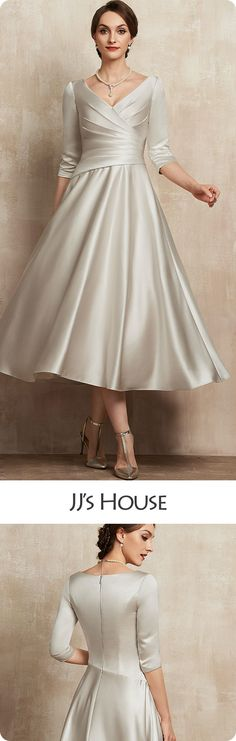 Bring a fresh, trendy touch to the wedding ceremony with this tea-length mother of the bride dress crafted from shiny satin! outfit for bachelorette winter Mother Of Bride Outfits, Mother Of Groom Dresses, Bride Groom Dress, Mothers Dresses, Mother Of The Bride, Tea Length Wedding Dress, Tea Length Dresses, Mom Dress, Dream Dress