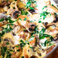 Chicken and Spinach with Creamy Parmesan Mushroom Sauce is your perfect everyday comfort food as well as an easy midweek dinner & a tasty leftover or lunch. Chicken Spinach Mushroom, Chicken And Brocolli, Chicken Thighs Mushrooms, Creamy Mushroom Sauce, Spinach Stuffed Mushrooms, Spinach Stuffed Chicken, Baked Chicken, Chicken Recipes, Chicken And Spinach Casserole