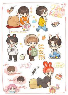 Jungkook, Kookie, and JK ; Bts Chibi, Anime Chibi, Exo Fanart, Jungkook Fanart, Bts Anime, Pop Stickers, Kpop Drawings, Dibujos Cute, Korean Art