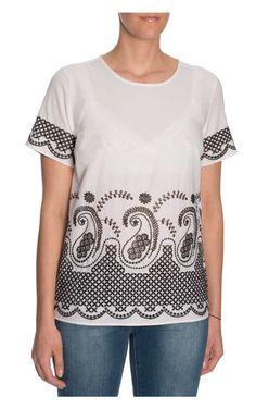 Topp Embroidered Cotton-Voile WHITE/BLACK - Michael - Michael Kors - Designers - Raglady