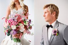 pink purple bouquet - photo by Mikki Platt Photography http://ruffledblog.com/barbie-inspired-wedding-ideas