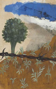 Ben Shahn (1898-1969)  Barbed Wire Paradise  signed 'Ben Shahn' (lower right)  gouache on paper laid down on board  13½ x 9 in. (34.3 x 22.9 cm.), sight size  Painted in 1959.