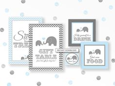 Oh Baby! Set up your baby shower tables in style with our adorable elephant theme printables. These signs would be a perfect addition to any jungle