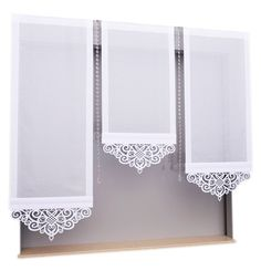 Panel z ażurem Kitchen Window Curtains, Home Curtains, Curtains With Blinds, Valances, Pelmets, Window Screens, Beading Techniques, Shades Blinds, Window Dressings