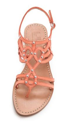studded sandals in a gorgeous shade of summery peach Pretty Shoes, Beautiful Shoes, Cute Shoes, Me Too Shoes, Cute Sandals, Shoes Sandals, Coral Sandals, Flat Sandals, Gladiator Sandals
