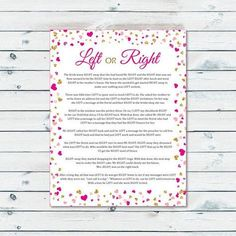 instant download left or right bridal shower game pass the prize bridal game