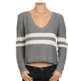 Knitted V-neck crop sweater with stripe detail. Looks great paired with high-waisted pants or denim and booties. Cropped Sweater, Men Sweater, It Cast, Fashion Outfits, Pullover, Sweaters, Women, Fashion Suits, Crop Top Sweater