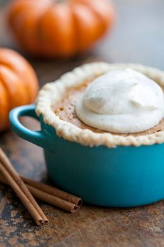 Mini Pumpkin Pies in mini cocottes from le creuset.   Fun idea.