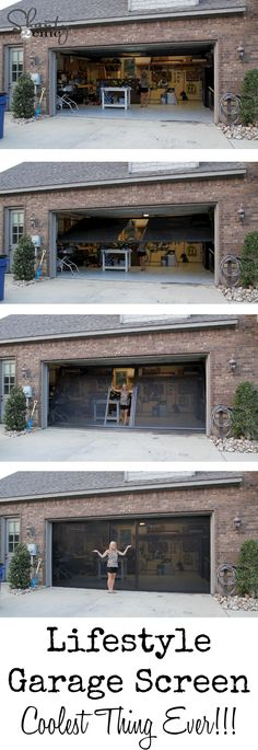 out my new Garage Screen - So AWESOME! LOVE this garage screen door! Pretty and affordable too!LOVE this garage screen door! Pretty and affordable too! Design Garage, House Design, Garage House, Garage Doors, Garage Exterior, Garage Shop, Garage Door Insulation, Garage Door Opener, Home Renovation