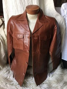 On Stage Menswear Size 40 Small Whisky Brown Leather Button Up Shirt Jacket New | eBay