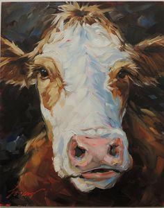 Impressionistic Cow Painting 8x10 inch original oil by LaveryART