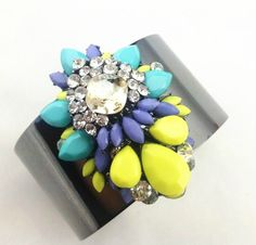 Bright Gem Rainbow statement bracelet. Matching rings, necklaces and bag available