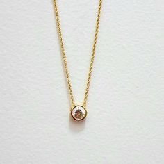 Chain-necklace-goldtone-dainty-round-small-slide-bezel-crystal-17-inch