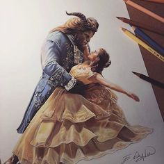 Beautiful Belle and Beast Art! Creds to artist Film Disney, Arte Disney, Disney Fan Art, Disney Love, Disney Magic, Amazing Drawings, Beautiful Drawings, Amazing Art, Disney And Dreamworks
