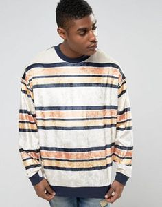 ASOS Oversized Striped Velour Sweatshirt