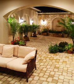 Hacienda Courtyard at Flintrock Lakeway, Texas - mediterranean - patio - Alberto Jauregui Designs, Inc.