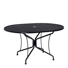 """Woodard Premium Mesh Top Oval Umbrella Dining Table Finish: Hammered White, Table Size: Oval 42"""" x 72"""""""