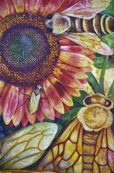 Sunflower and Bee Art. ❣Julianne McPeters❣ no pin limits