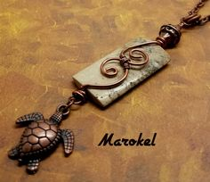 Sea Turtle Necklace Fossil Stone Wire Wrapped Copper by marokel