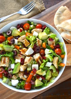 My favorite last minute, throw together quick meal. All ingredients are interchangeable… you can add and subtract what you like. I also had some toasted pita with mine. Salad Ingredients: 1 lb chicken breast, sliced lengthwise olive oil, garlic powder, salt & dried oregano 2-3 romaine lettuce hearts, chopped …