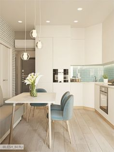 Small kitchen in soothing colors Small kitchen i . - Small kitchen in soothing colors Small kitchen in soothing colors - Kitchen Shelf Decor, Cabinet Decor, Kitchen Ideas, Kitchen Modern, Rustic Kitchen, Kitchen Interior, Interior Design Living Room, Appartement Design, Cuisines Design