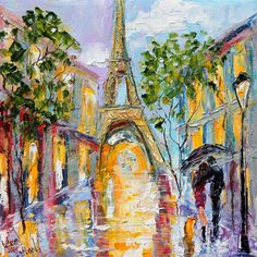 Original Oil painting Paris Eiffel Tower Rain palette knife by Karensfineart